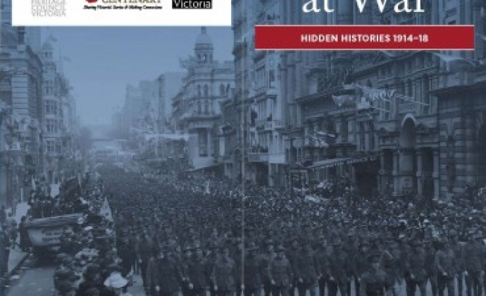 Melbourne at war brochure cover showing soldiers marching down a city street