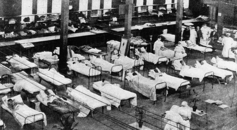 Men's ward inside the Royal Exhibition Building during the Spanish flu epidemic, 1919