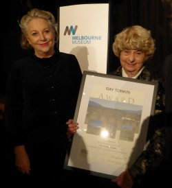 HCV Chair Mary Urqhart presents the volunteer award to Lesley Barnes.